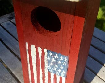 rustic birdhouse,patriotic birdhouse,americana, primitive birdhouse,unique birdhouse,4th of july,garden decor,flag decor,wooden birdhouse