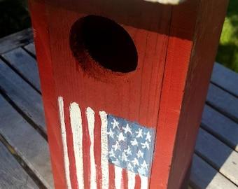 rustic birdhouse,patriotic birdhouse,americana, primitive birdhouse,unique birdhouse,4th of july,garden decor,flag decor,wooden birdhouse