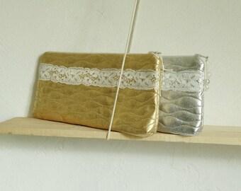Glam Glitter Clutch Bag Silver Gold Lace Trim Purse Bride Bridesmaid Day Cosmetic Purse
