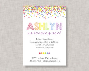 Confetti Birthday Invitation, Rainbow Invitation, Rainbow Birthday Invitation