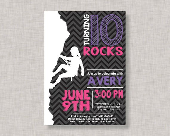 Rock Climbing Invitation Girl Rock Climbing Invitation Rock