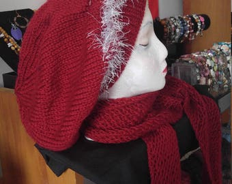 Autumn Red slouchy hat and scarf hand knitted
