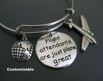 Flight Attendant / Flight Attendant Bangle / Plane Bracelet / Wanderlust / Travel Bracelet / Expandable Bangle / Adjustable Charm Bracelet