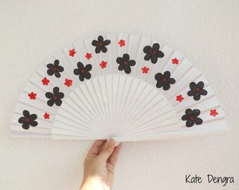 Black White with Black and Red Flowers Hand Fan SIZE OPTIONS by Kate Dengra Spain