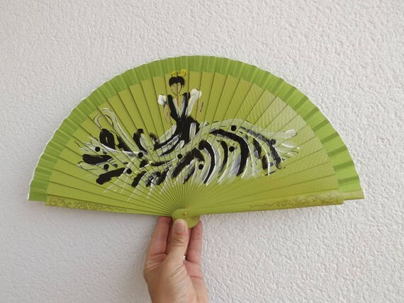 Bright Green Flamenco Dancer Design Spanish Hand Fan Limited Edition