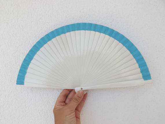 White and Blue Hand Fan