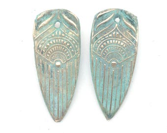 Pair of Bronze Feathers with Blue Patna