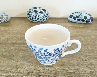 Teacup Candle Vanilla Scented - Blue White Vintage Broadhurst Cream - Chintz Homewares Willow Style Design