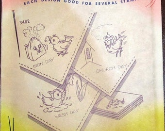 Vintage 1950s Aunt Martha's Hot Iron Embroidery Transfer Pattern 3482 Whimsical Birds for Tea Towels DOW Motifs for Linens etc Uncut Unused