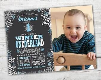 Winter Onederland Boy 1st Birthday, Winter Wonderland Boy Invitations, Winter Onederland Invitation, Winter Onederland Party, PRINTABLE