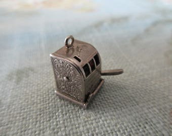 vintage sterling charm - slot machine, movable, gambling, Wells Sterling