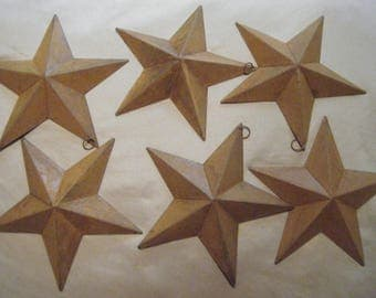 Six Rustic Moravian Stars with  Hooks //Ornaments//Supplies