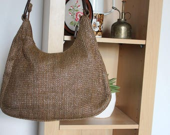 25% off Woven Raffia Hand Bag, Leather Handle, Hand Crafted
