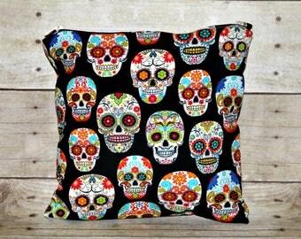 Sugar Skulls Small Wet Bag, Cloth Diaper Wet Bag, Reusable Waterproof Bag, Beach Bag, Pool Bag, Makeup Bag, Wet Bag, Toiletry Bag, Swimsuit