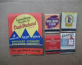 Vintage 1940's Matchbook Covers Whiskey & Spirits, Kentucky Tavern Whisky, Crab Orchard, Roma, Front Strike matchbooks