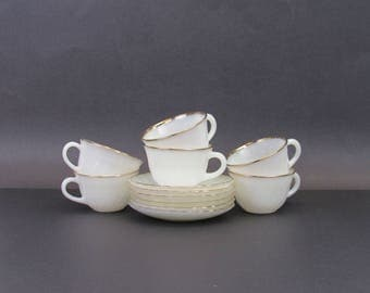 Vintage Fire King 'Suburbia' Cups and Saucers, Set of 6 (E9757)