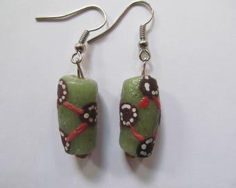 Green Polka Dot Earrings