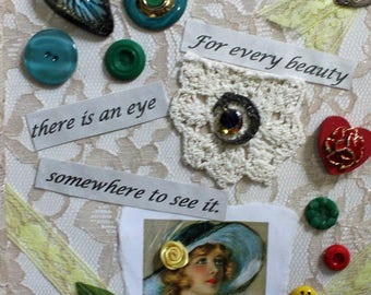 Mixed media quote, collage, framed mixed media, lace wall hanging, wall art, collector's art, housewarming gift