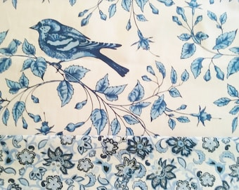 """Banded BLUE BIRDS of happiness Valance Window treatment 40"""" x 14"""" Long lined or unlined"""