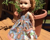 """Cowgirl, horse pocket, Western dress, 14"""" doll clothes fit Wellie Wisher"""