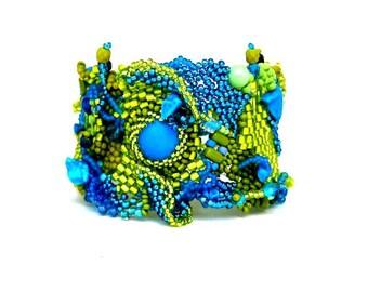 Boho bracelet jewelry, Women's bracelet, Gift for her, Colorful jewelry Beaded bracelet Green and blue Freeform peyote cuff bracelet
