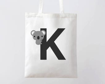 Initial K tote bag, Letter tote, cute animal tote, koala tote, alphabet tote, personalised initial bag, gift for kid, gift for her