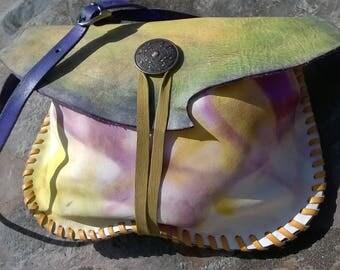 Shoulder bag, Apple green leaf. romantic and nature spirit