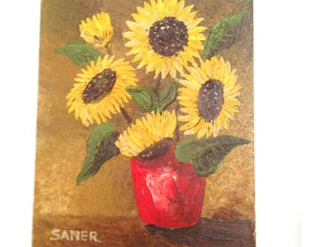 FREE SHIPPING! Vintage Oil Painting Sunflowers
