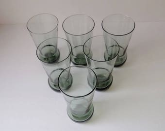 Smokey Blue Green Glassware set of 6 tall drinking glasses Dusty Glass Tumblers