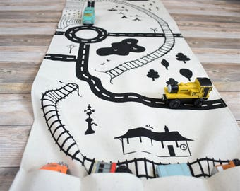 Large Train Playmat, Organic Village Mat, Town Playmat, Train Storage, Travel Playmat, Imaginative Play, Roll-Up Play Mat, Fold Up Playmat