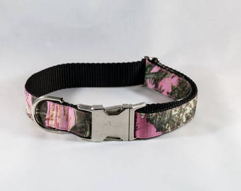 The Sporting Pup Pink Camo Dog Collar--Black