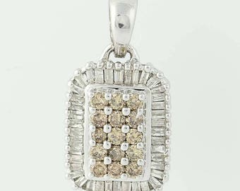 Diamond Halo Pendant - 14k White Gold Champagne 0.48tw U0055