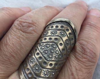 Vintage Tibetan Tribe 1970's Sterling Silver Wide Adjustable Ring