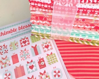 """Bonnie & Camille/Moda Quilt Kit, 'Handmade With Love' Quilt Pattern, Uses Bonnie and Camille  Fabrics from Moda Fabrics, 74""""x75"""" Quilt"""
