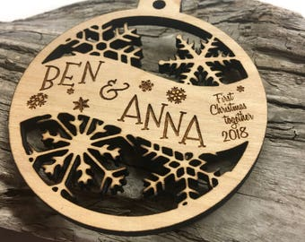 Couple's First Christmas Together- Customizable Christmas Ornament - Engraved Birch Wood Ornament