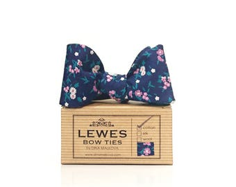 Men's bow tie - navy blue cotton self tie bow tie with pink floral design, navy blue floral wedding bow tie, navy blue bow tie for men