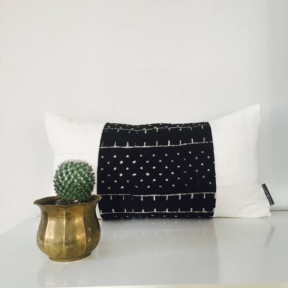 "Boho Black and White Wool 14""x24"" Lumbar Cushion Cover Ethnic Bohemian African Mud Cloth Geometric Motif Boho Pillow"