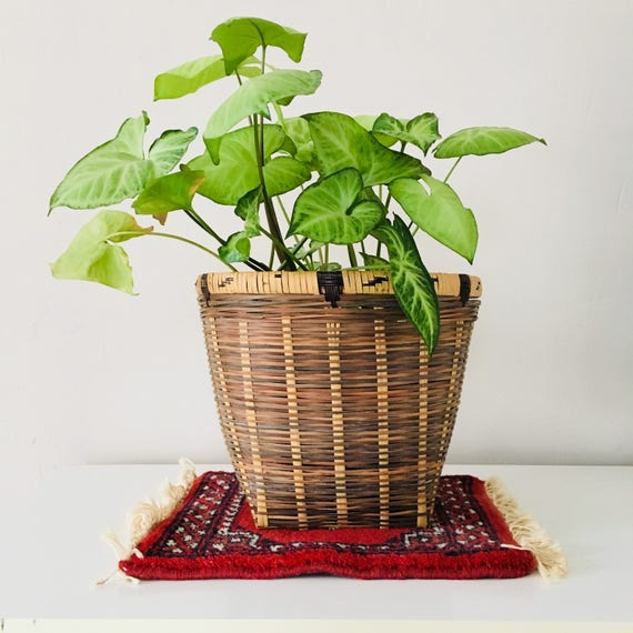 Vintage Woven Rattan Basket Planter Rustic Woven Wicker Plant Holder Boho Decor