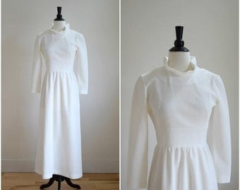 Summer Sale Vintage 1960's white ruffle neck dress / simple wedding dress
