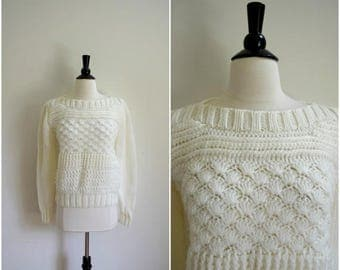 Summer Sale Vintage cable knit white sweater / knit cozy sweater / white jumper