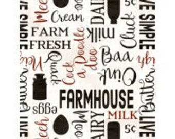 Fabric by the Yard - HOMESTEAD - Words Cream