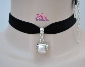 BLACK 16mm Velvet Ribbon Cat Collar Choker With Large Silver Plated Jingle Bell Charm -cb... 30 Quality Ribbon Colours!
