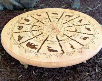 Wood burned Native American Zodiac Altar