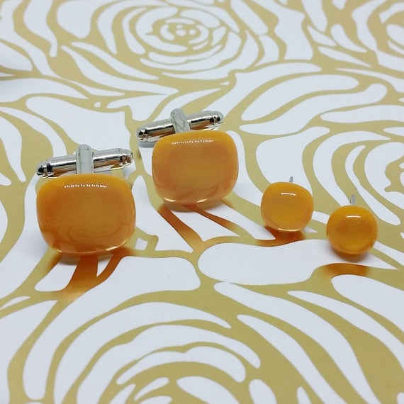 Pumpkin Orange Matching Glass Cuff Links and Earrings, Wedding, Prom or Formal Attire