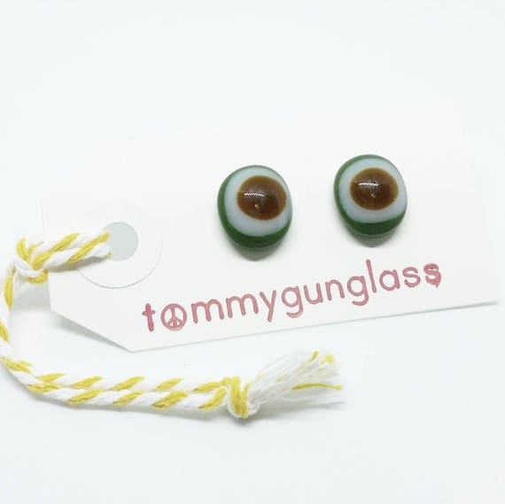 Green and Brown Glass Stud Earrings
