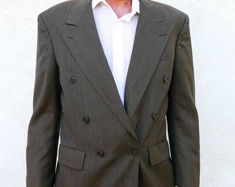 Vintage 1980s Double Breasted Sports Jacket, Brown Suit Coat, Men's Blazer, Made in the USA