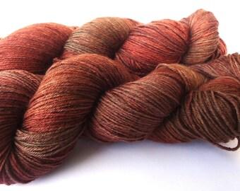 Fine Merino Socks hand dyed yarn hand painted sock yarn: Chestnut