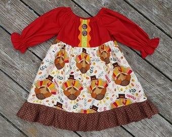 Girl's Toddlers Thanksgiving Turkey Ruffle Peasant Dress