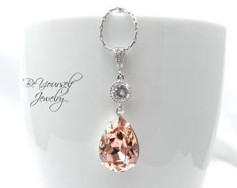 Soft Pink Bridal Necklace Blush Teardrop Bride Necklace Pastel Wedding Jewelry Swarovski Crystal Vintage Rose Necklace CZ Bridesmaid Gift