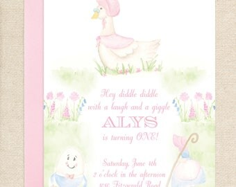 Watercolor Mother Goose Nursery Rhyme Invitation